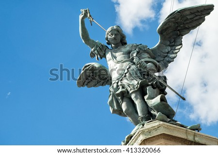 Saint Michael statue on top of Castel Sant`Angelo (Castle of Holy Angel) in Rome, Italy - stock photo