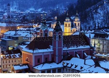 Saint Nicholas Cathedral and Franciscan Church. Ljubljana, Slovenia - stock photo