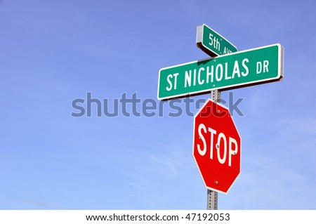 Saint Nicholas Drive in North Pole, Alaska - stock photo