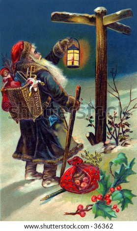 Saint Nicholas on his evening deliveries, checking a sign post - an early 1900s vintage illustration. - stock photo