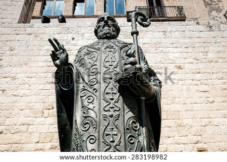Saint Nicholas statue outside the cathedral in Bari, Italy - stock photo