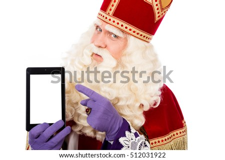 Saint  Nicholas with smart phone or tablet. Isolated on white background , with copy-space.
