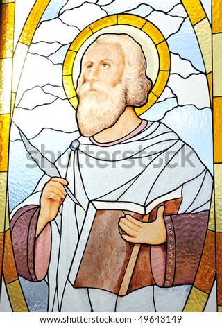 Saint on church's window, glass mosaic - stock photo