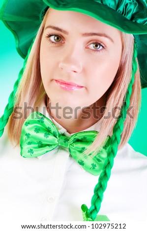 Saint Patrick day concept - focus on bow tie - stock photo