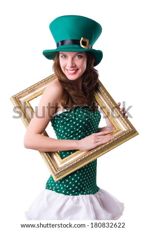 Saint Patrick holiday concept with woman and frame - stock photo