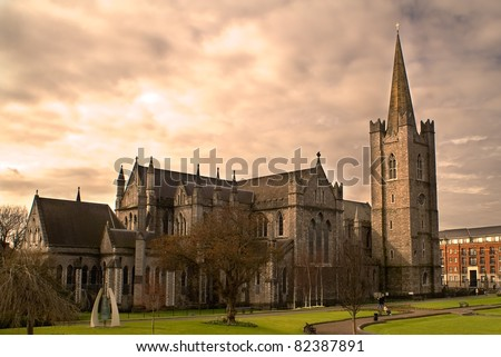 Saint Patrick's Cathedral in Dublin, Ireland on an overcast day. - stock photo