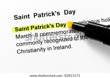 Saint Patrick`s Day text highlighted in yellow, under the same heading