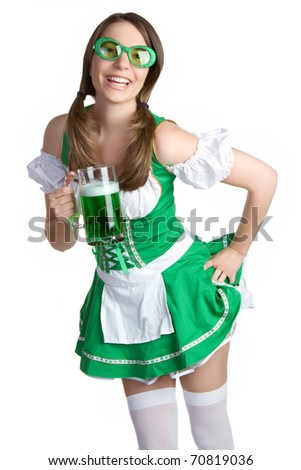 Saint Patricks Day beer girl - stock photo