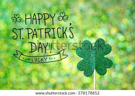 Saint Patricks Day shiny green clover ornament - stock photo