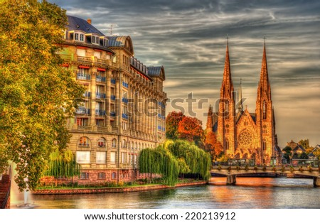 Saint Paul church and ESCA building in Strasbourg - Alsace, France - stock photo