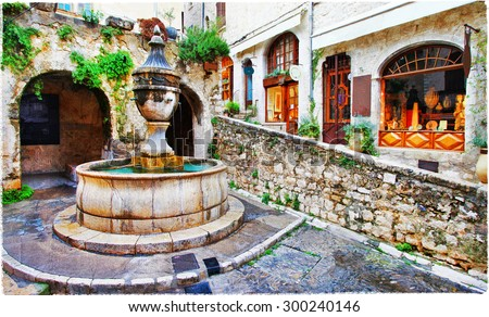 Saint-Paul de Vence- charming village in Provence, France. artis - stock photo