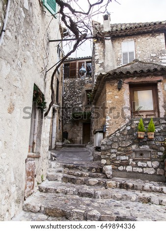 SAINT-PAUL-DE-VENCE, FRANCE, on JANUARY 9, 2017. Picturesque stone buildings create shape typical for the medieval town in the French Alps