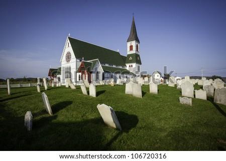 Saint Paul's Anglican Church and Cemetery in Trinity, Newfoundland - stock photo
