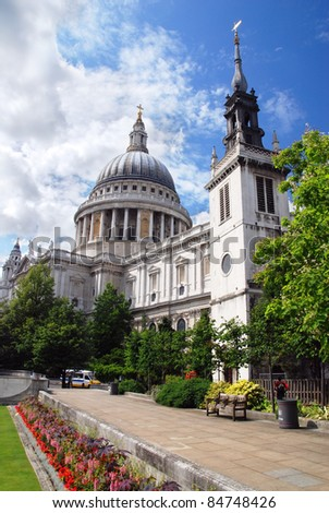 Saint Paul's Cathedral and a park in front of it - stock photo