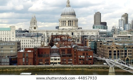 Saint Paul's Cathedral in the City of London, UK (16:9 aspect ratio) - stock photo