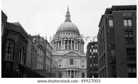 Saint Paul's Cathedral in the City of London, UK - (16:9 black and white) - stock photo