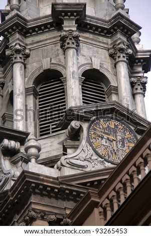 Saint Paul's Chapel, details of watch of bell tower, New York City - stock photo