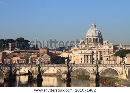 Saint Peter basilica from the river Tevere. Rome, Italy - stock photo