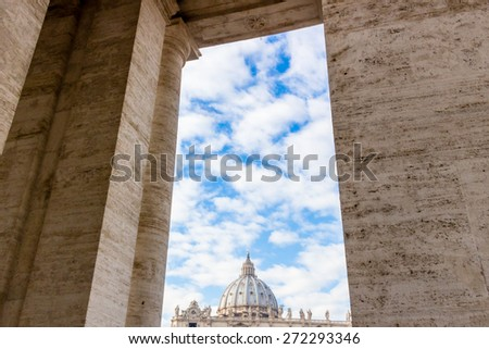 Saint Peter, Basilica in Vatican City: dome and facade in a frame - stock photo