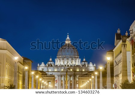 Saint Peter Basilica in Vatican City within Rome, Italy