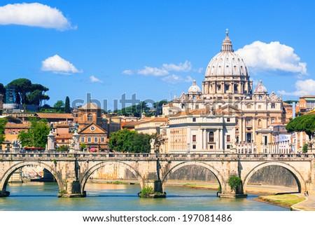 Saint Peter basilica (San Pietro) in Rome, Italy - stock photo