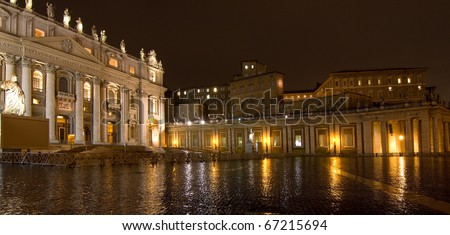 Saint Peter's Basilica at night