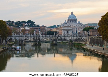 Saint Peter's Basilica in Rome at sunset - stock photo