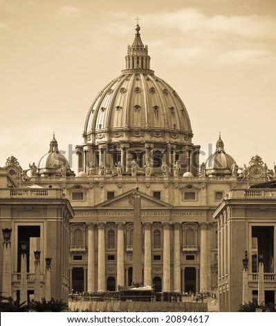Saint Peter's dome (Basilica di San Pietro) from Tevere river,Vatican Town, Rome, Italy. - stock photo