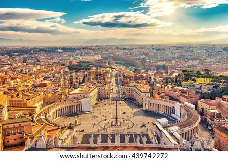 Saint Peter's Square in Vatican and aerial view of Rome - stock photo