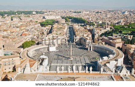 Saint Peter's Square in Vatican in Rome. Italy