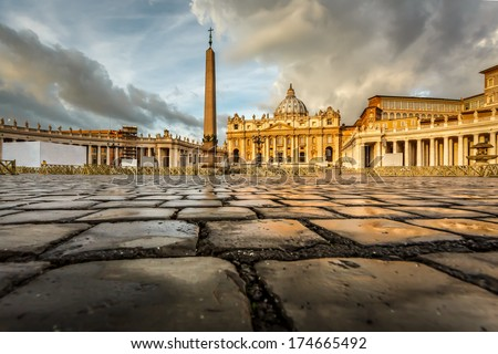 Saint Peter Square and Saint Peter Basilica in the Morning, Vatican City, Rome, Italy - stock photo