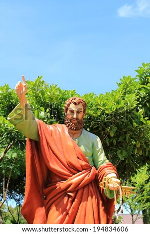 saint peter statue at  saint joseph catholic church, Ayutthaya, Thailand - stock photo