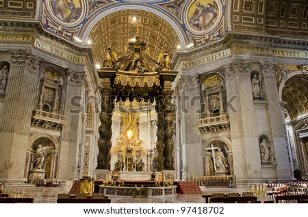 Saint Peters Cathedral in Vatican - stock photo