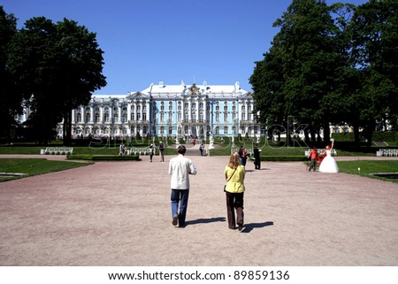 SAINT PETERSBERG, RUSSIA - JUNE 15: The exterior of Catherine Palace in Tsarskoye Selo (Tsar's Village), just outside of Saint Petersburg, Russia on Wednesday, June 15, 2011