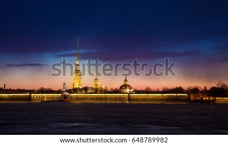 Saint Petersburg at night. View of Peter and Paul fortress illuminated in the dark