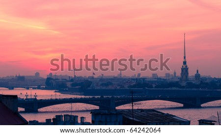 Saint Petersburg bridge and st. peter and st. paul cathedral - stock photo