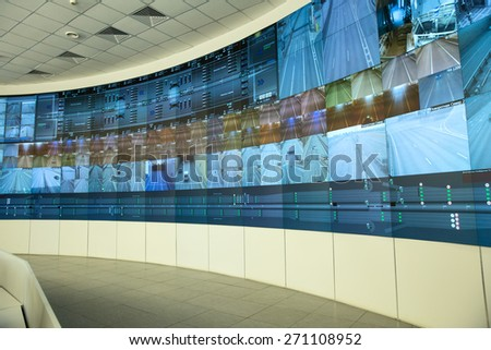 SAINT-PETERSBURG, RUSSIA - APRIL 12, 2015 - Central control panel an automobile tunnel under a ship canal. Flood Prevention Facility Complex - stock photo