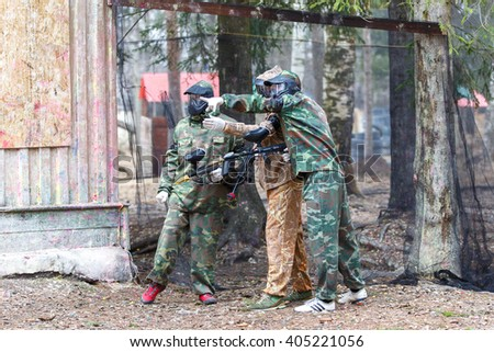 Saint-Petersburg, Russia - April 10, 2016: Paintball student tournament of Bonch Bruevich university in Snaker club.