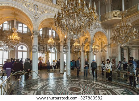 SAINT PETERSBURG, RUSSIA - APRIL 04, 2015:  The Pavilion Hall of Hermitage was created to design by A. Stackenschneider. Hermitage is one of  largest and oldest museums of art and culture in the world