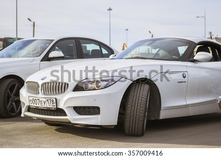 SAINT-PETERSBURG, RUSSIA - APRIL 5, 2014: White coupe BMW-car z4 at the meeting fans of the Bavarian automaker, St. Petersburg, Russia - stock photo