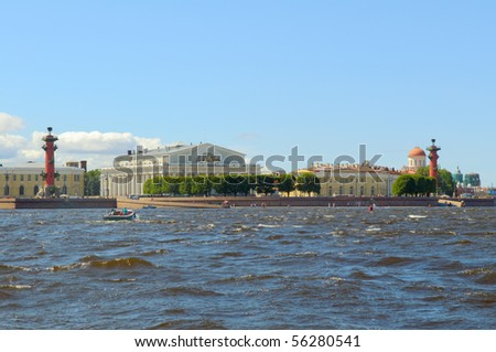 Saint Petersburg, Russia, Arrow Vasilevsky Island, Rostral Columns, the old Stock Exchange building. View from the Neva River. - stock photo
