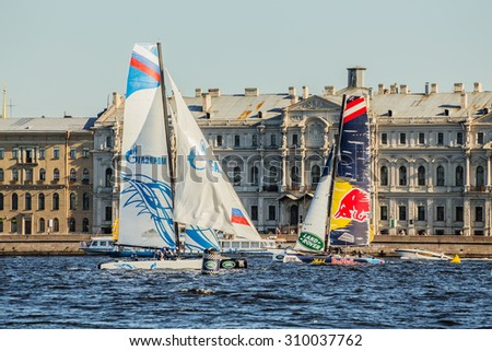 SAINT-PETERSBURG, RUSSIA - AUGUST 23, 2015: Gazprom Team Russia and Red Bull Sailing Team at Extreme Sailing Series Act 6 catamarans race on 20th-23th august 2015 in St. Petersburg, Russia - stock photo