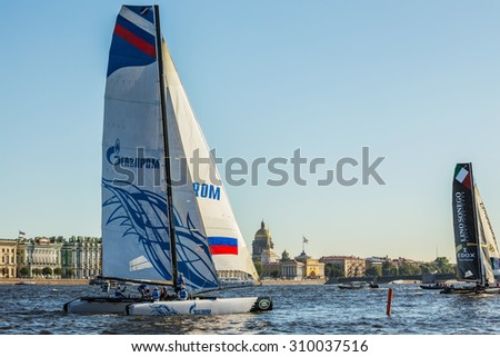 SAINT-PETERSBURG, RUSSIA - AUGUST 23, 2015: Gazprom Team (Russia) at Extreme Sailing Series Act 6 catamarans race on 20th-23th August 2015 in St. Petersburg, Russia - stock photo