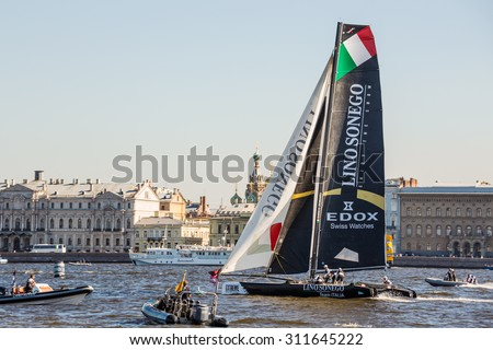 SAINT-PETERSBURG, RUSSIA - AUGUST 21, 2015: Lino Sonego Team Italia at Extreme Sailing Series Act 6 catamarans race on 20th-23th august 2015 in St. Petersburg, Russia - stock photo