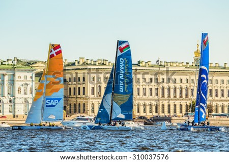 SAINT-PETERSBURG, RUSSIA - AUGUST 23, 2015: Participants of Extreme Sailing Series Act 6 catamarans race on 20th-23th August 2015 in St. Petersburg, Russia - stock photo