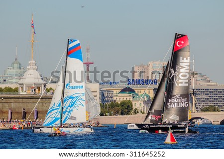 SAINT-PETERSBURG, RUSSIA - AUGUST 21, 2015: Participants of Extreme Sailing Series Act 6 catamarans race on 20th-23th August 2015 in St. Petersburg, Russia - stock photo
