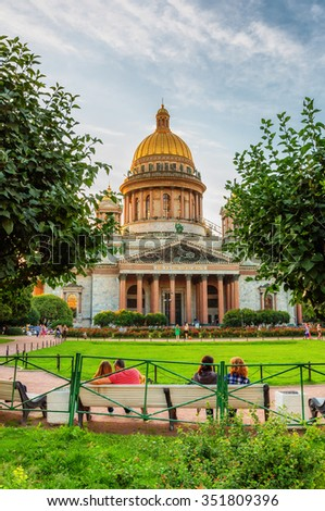Saint Petersburg/Russia - August 09, 2015: Saint Isaac's Cathedral - stock photo