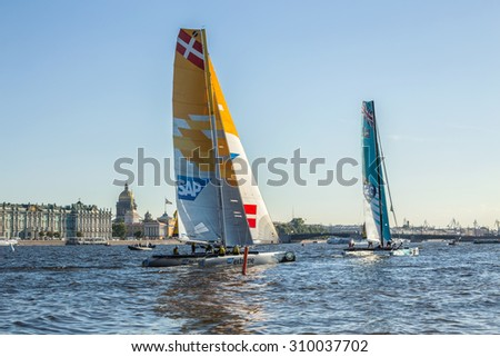 SAINT-PETERSBURG, RUSSIA - AUGUST 23, 2015: SAP Extreme (Denmark) yacht at Extreme Sailing Series Act 6 catamarans race on 20th-23th August 2015 in St. Petersburg, Russia - stock photo