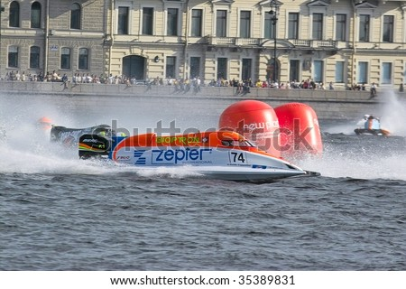 SAINT PETERSBURG, RUSSIA - AUGUST 09: World Champion Guido Cappellini of the Zepter Team in the U.I.M. F1 H2O World Championship for power boating, August 9, 2009. Saint Petersburg.