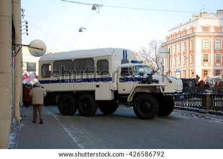 SAINT-PETERSBURG, RUSSIA - FEB 25, 2012 - Police truck (Prisoner transport vehicle)  at rally for Fair elections in Russia. St. Petersburg, 25.02. 2012